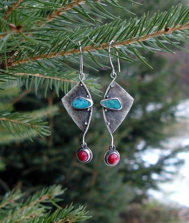 Ailes – kolczyki srebrne z turkusem i koralem
