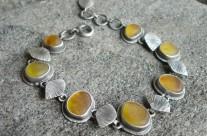 Culumalda – srebrna bransoletka z bałtyckim bursztynem