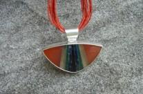 Carneol Sens – srebrny mozaikowy wisior z karneolem