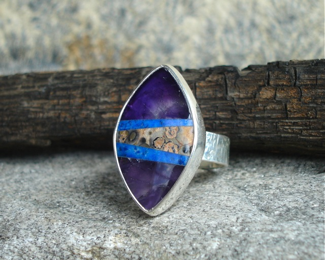 Amethyst Sens – srebrny mozaikowy pierścień z ametystem