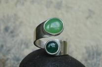 Ruban – pierścionek z chryzoprazem i awenturynem