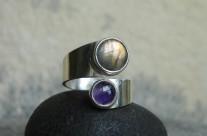 Ruban – pierścionek z labradorytem i ametystem