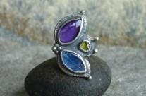 Flos Violaceus – srebrny fantazyjny pierścień