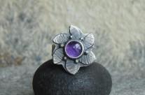 Violette – srebrny pierścionek z ametystem