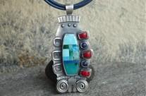 Montezuma – srebrny wisior mozaikowy