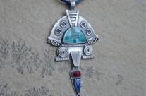 Malintzin – srebrny wisior mozaikowy