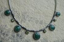 Alda – srebrny naszyjnik z awenturynem i oliwinem