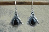 Aelin-Uial  srebrne kolczyki z obsydianem