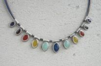 Mille – srebrny naszyjnik z kolorowymi kamieniami