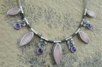 Rosaceae – srebrny naszyjnik z kwarcem różowym i ametystem