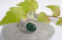 Ruban – srebrny pierścionek z awenturynem i oliwinem