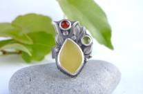 Soll – srebrny pierścień z bursztynem