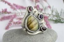Aurore – srebrny pierścień z labradorytem