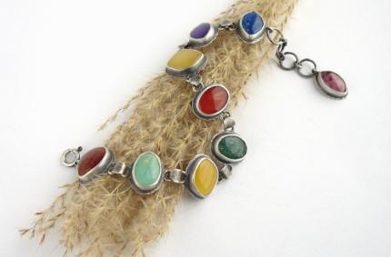 Coire – srebrna bransoleta z kolorowymi kamieniami