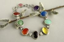 Coiren – srebrna bransoleta z kolorowymi kamieniami