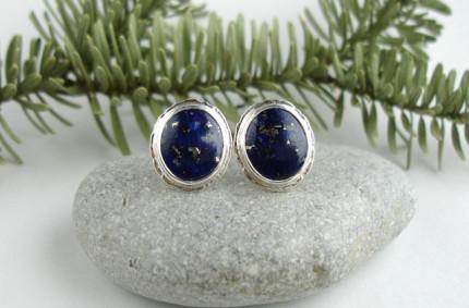 Niebo nocą – srebrne kolczyki z lapis lazuli