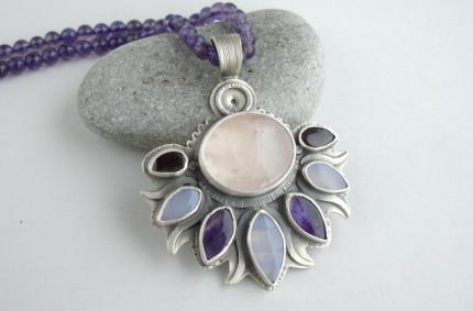 Pelennor – srebrny wisior z kwarcem różowym