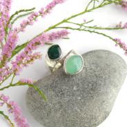 Ruban – srebrny pierścionek z chryzoprazem i awenturynem