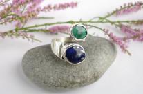 Ruban – pierścionek srebrny z lapisem i malachitem