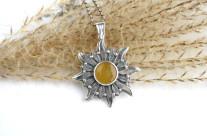 Solaris – srebrny wisior z bursztynem